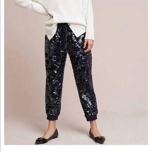Anthropologie Sequin Velvet Pants